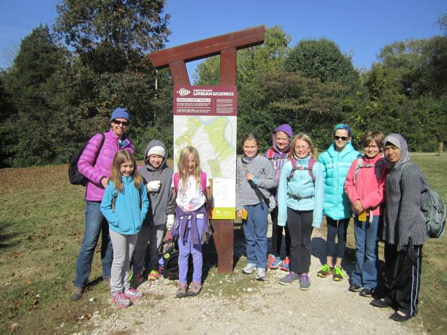 Ready to hit the trail! Girls Outside 4-6th graders at the Anderson School trailhead for the Knoxville Urban Wilderness.