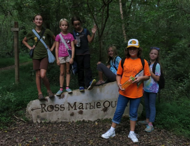 Girls pose at the entrance to Ross Marble Area