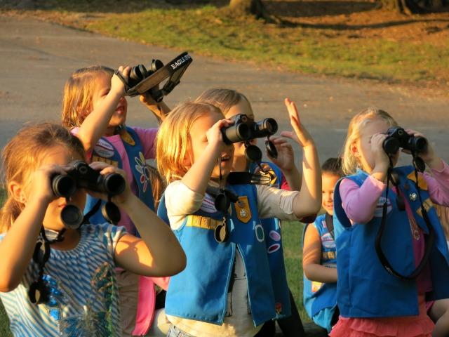 Daisies testing out binoculars
